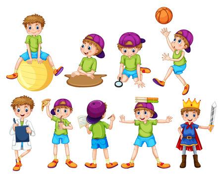 snack cartoon: Boy doing different activities illustration
