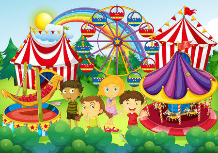 cartoon circus: Children having fun in the circus illustration Illustration