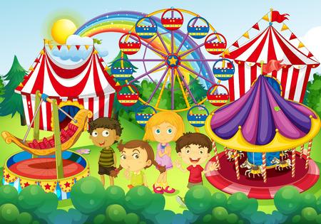 Children having fun in the circus illustration Illustration