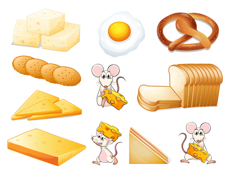 cheese bread: Flashcard of yellow theme  illustration