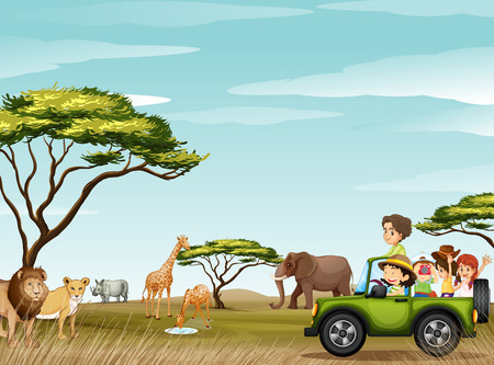 Roadtrip in the field full of animals illustration Vectores