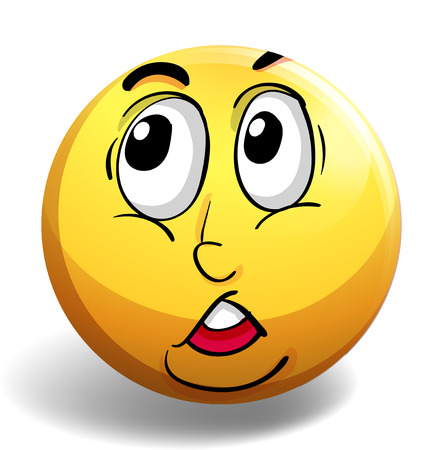 expression visage: Facial expression on yellow badge illustration