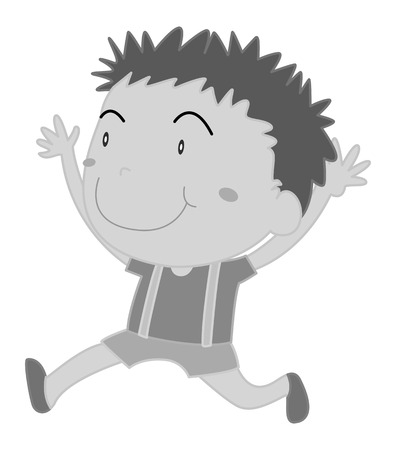 alone person: Boy running in black and white illustration