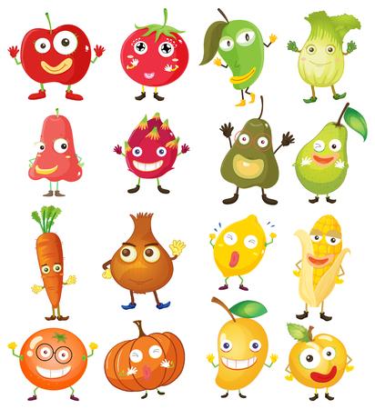 fruit du dragon: Fruits et l�gumes avec le visage illustration