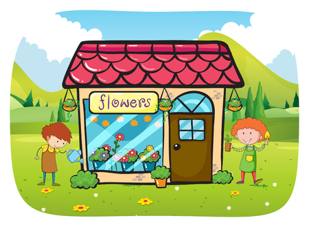cartoon banner: Flower shop with flourist illustration