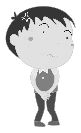 uneasy: Boy holding pee in black and white illustration