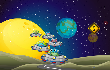 space cartoon: Aliens flying UFO in the space illustration