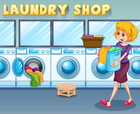washing clothes: Woman carrying a basket in the laundry shop illustration