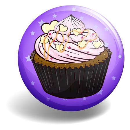 cupcake illustration: Cupcake on purple badge illustration