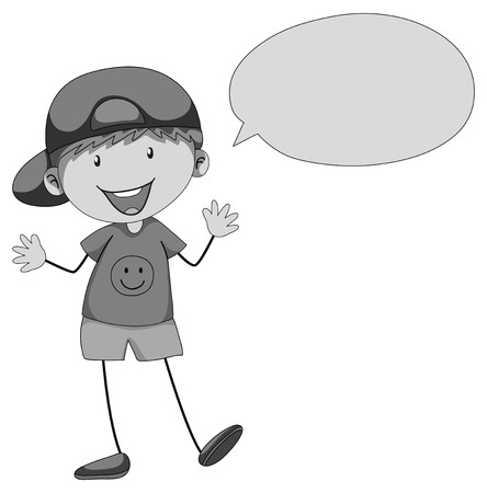 one child: Little boy with bubble speech illustration