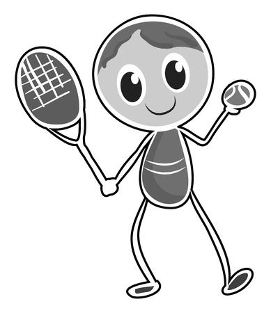 balones deportivos: Personaje masculino de tenis de juego ilustración Vectores