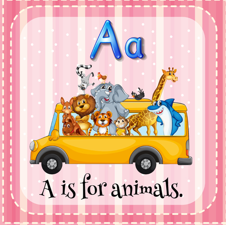 letter alphabet pictures: Alphabet A is for animals illustration