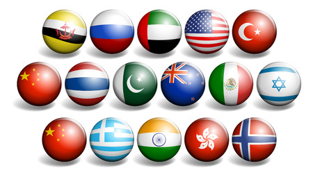 diversity of the region: Different country flags on round ball illustration