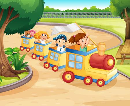 playground children: Children riding on the train in the park illustration