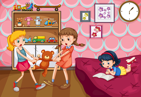 angry teddy: Girl fighting over a toy illustration Illustration