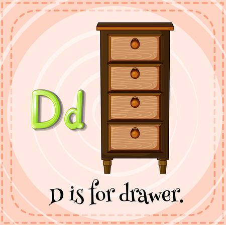 drawers: Flashcard letter D is for drawer illustration Illustration