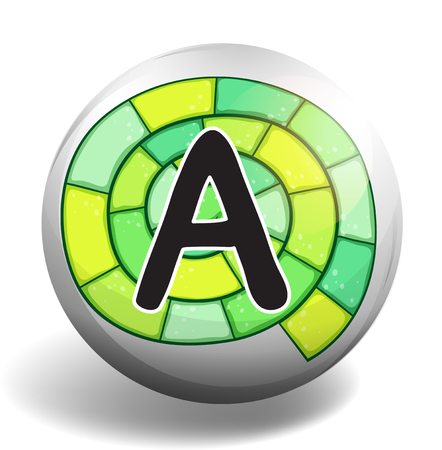 letter alphabet pictures: Alphabet A on round badge illustration