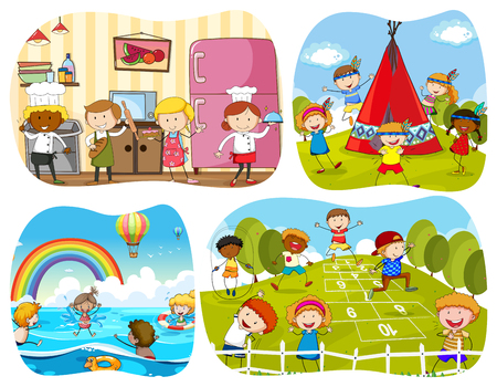 four people: People in four different scenes illustration