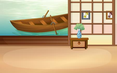 rowboat: Rowboat floating outside the house illustration