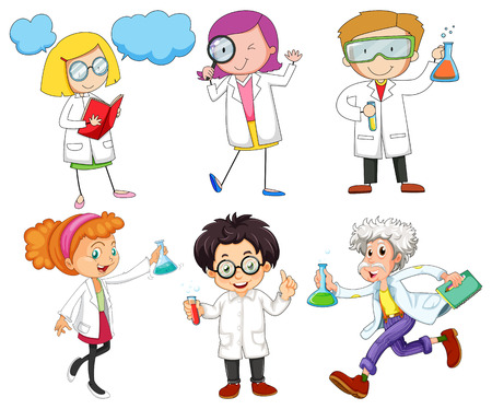 science lab: Male and female scientists illustration Illustration