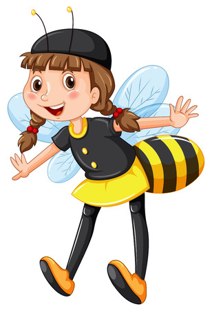 role play: Girl in bee costume illustration