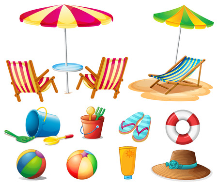 sandles: Beach objects and toys illustration Illustration