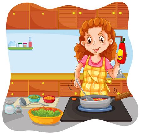cocina caricatura: Mujer que cocina en la ilustración de la cocina Vectores