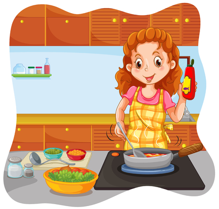 kitchen cabinet: Woman cooking in the kitchen illustration