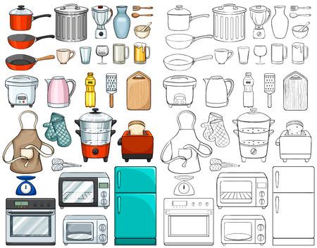 ustensiles de cuisine: Cuisine outils et équipements illustration Illustration
