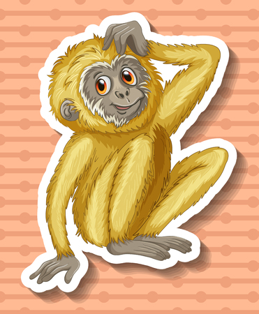 scratching: White gibbon scratching the head illustration