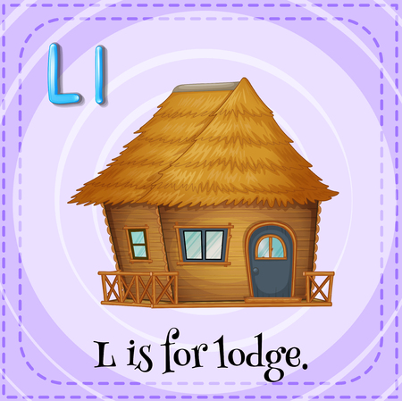 lodge: Flashcard of L is for lodge illustration