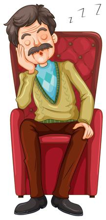 anciano: El viejo hombre que toma una siesta en la ilustración silla
