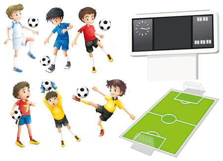 jugador de futbol: Los jugadores de fútbol y campo de la ilustración