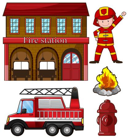 camion de bomberos: Bombero y estaci�n de bomberos ilustraci�n Vectores