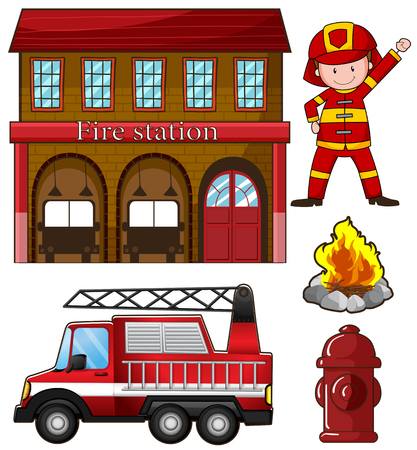 fire truck: Fireman and fire station illustration