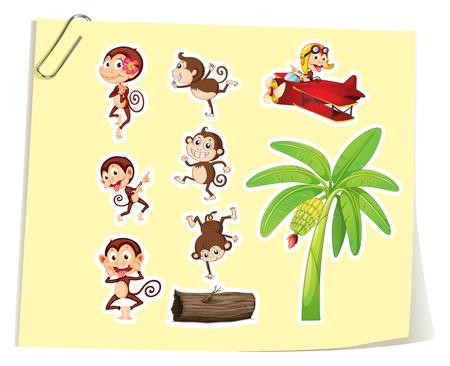 flying monkey: Monkeys and banana tree illustration Illustration