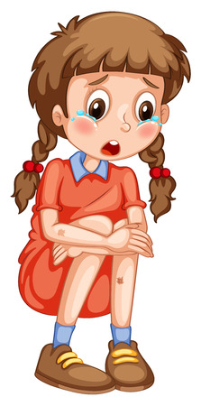 Little girl with bruises crying illustration Illustration