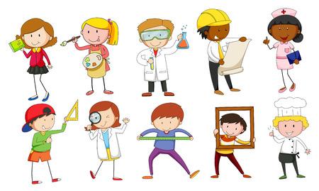 caricatura enfermera: Mand y mujer en diferentes ocupaciones ilustración