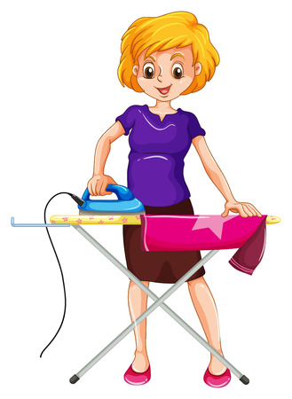 the iron lady: Woman ironing clothes on the ironing board illustration