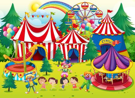 payasos caricatura: Los ni�os se divierten en la ilustraci�n de circo