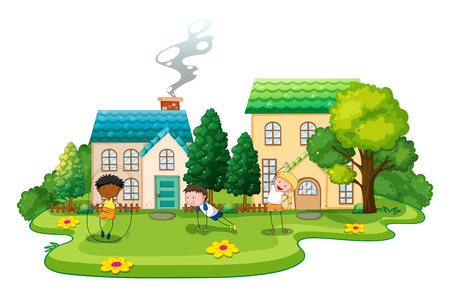 clipart chimney: Kids doing exercises in front of houses illustration