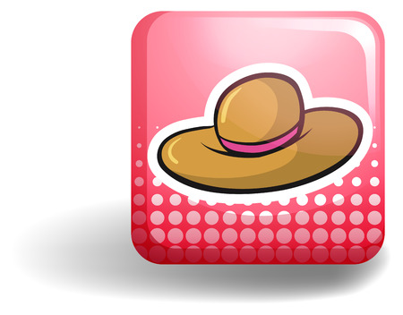 pink brown: Pink badge with brown hat illustration