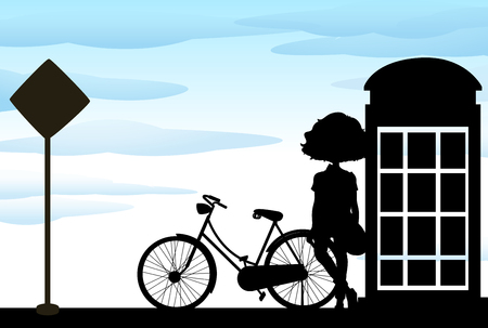 telephone booth: Silhouette of woman standing with bicycle illustration Illustration