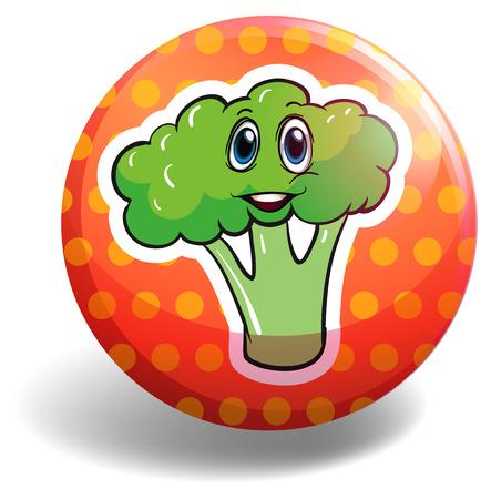 broccoli: Circular badge with broccoli illustration