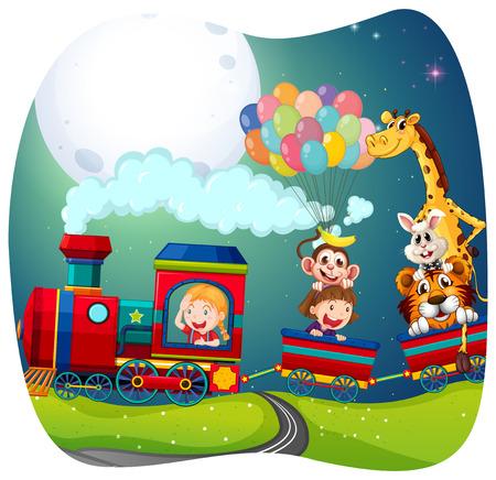 Girls and animals on train illustration