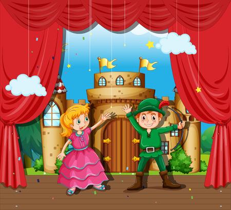 Kinderen doen toneelstuk illustratie Stock Illustratie