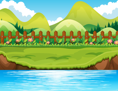 river bank: River scene with mountains background illustration