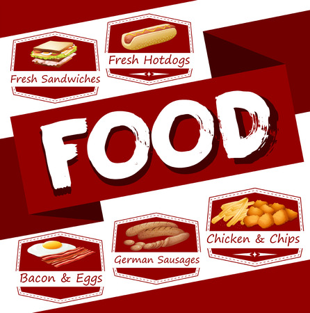 bacon art: Food menu in red illustration