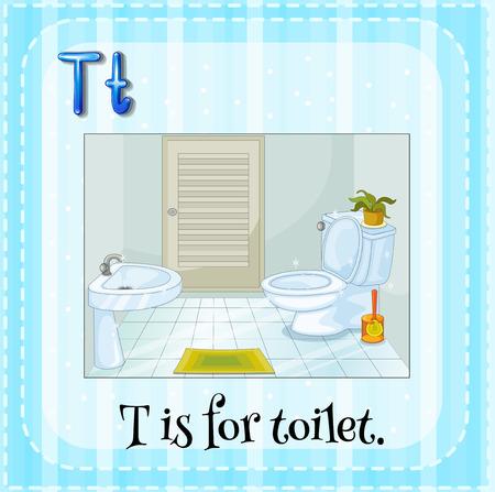 bathroom faucet: Alphabet T is for toilet illustration Illustration