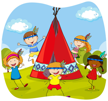 teepee: Children playing indians by the teepee illustration